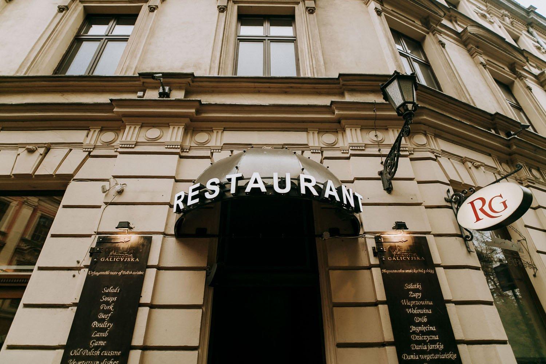 zdjecie wejscia do restauracji galicyjskiej w krakowie